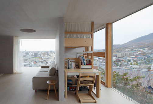 Wooden small japanese living room