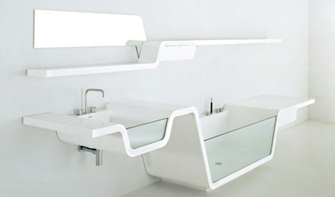 bathroom sink shelf with bathtub
