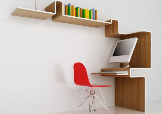 desk and bookshelf combo 2-1