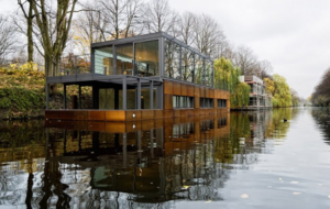 modern floating boat house