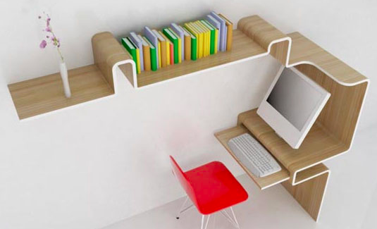 office desk with book shelves