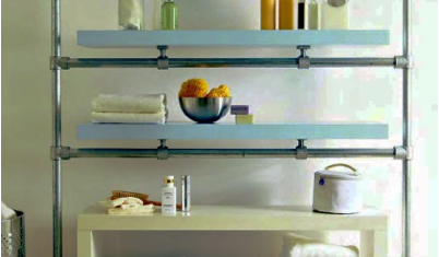 shelves on bathroom pipes