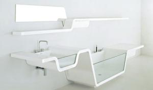 bathroom sink shelf with bathtub