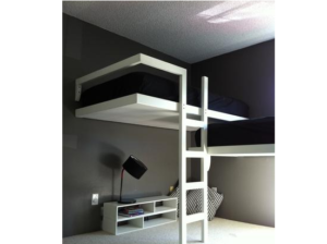 black and white loft beds