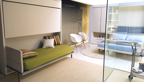 Furnishing small spaces Fold down furniture