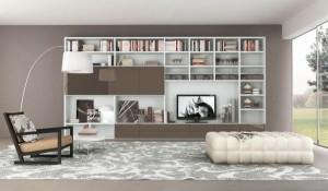 modern shelves as feature wall