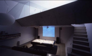 small concrete house entertainment area